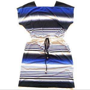 Londonn Style Cap Sleeve Cinching Striped Dress 4